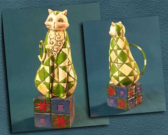ENESCO GREEN STAR CAT STATUE * JIM SHORE