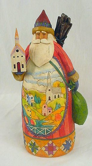 JIM SHORE SANTA CLAUS W CHURCH STATUE * ENESCO