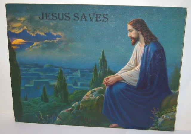 VINTAGE JESUS SIGN * OLD VINTAGE 1950S JESUS