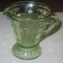 VINTAGE GREEN GLASS PITCHER / CREAMER 1940s