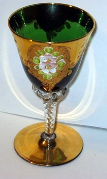 VINTAGE HAND PAINTED FLORAL GREEN CORDIAL GLASS
