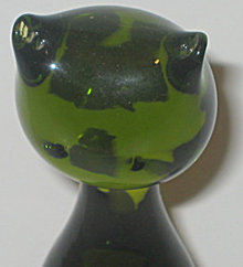 VINTAGE CAT PAPERWEIGHT * OLD GREEN GLASS