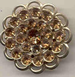 Amber Rhinestone Brooch Pin