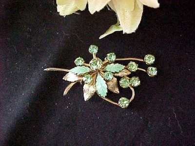 Rhinestone Leaf Brooch Pin