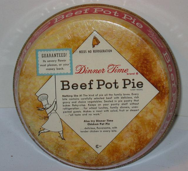 Beef Pot Pie Dinner Tin 1950s