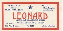 Leonard Hotel Blotter 1950s