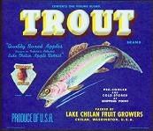Trout Apple Crate Label 1940s