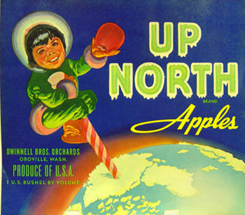 Up North Apple Crate Label - Eskimo