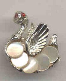 Rhinestone Ostrich Pin Brooch