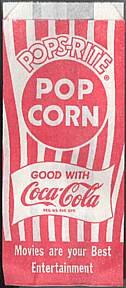 Pops-Rite Coca-Cola Popcorn Movie Bag