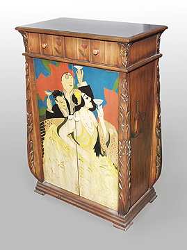 Wood Wine Cabinet - Art Deco
