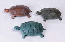 3 CAST IRON GARDEN TURTLE STATUES