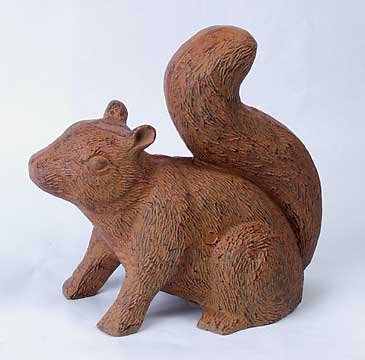 CAST IRON GARDEN SQUIRREL STATUE