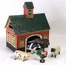 CAST IRON FARMHOUSE BARN W 5 PAINTED ANIMALS