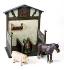 Horse Stall with Animals - Cast Iron