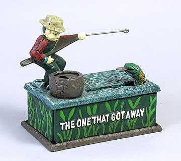 CAST IRON FISHERMAN BANK * NEW