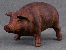 CAST IRON POT BELLY PIGGY PIG BANK