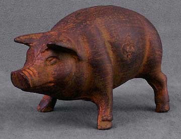CAST IRON POT BELLY PIGGY PIG BANK