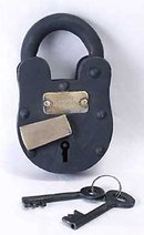 CAST IRON LOCK W KEYS * FT KNOX GOLD VAULT