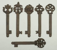 CAST IRON KEYS * 6 REPRODUCTION SKELETON KEY
