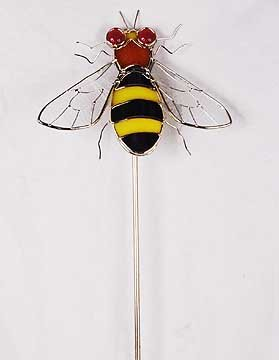 BUMBLE BEE GLASS GARDEN STAKE
