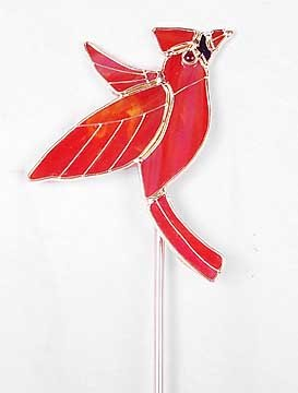 RED CARDINAL GLASS GARDEN STAKE