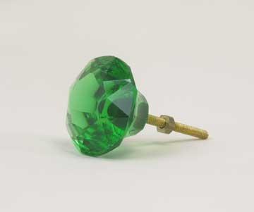 Green Glass Drawer Pulls 1.5