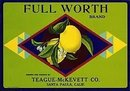 Full Worth Lemon Citrus Crate Label