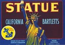 Statue of Liberty Barlett Pears Label