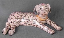 PORCELAIN PINK DOG STATUE