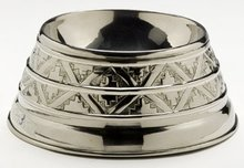 NICKEL PLATED DOG BOWL NEW