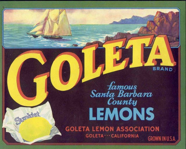 Goleta Sunkist Citrus Crate Label