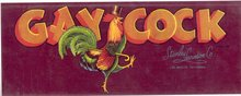 VINTAGE GAY COCK BOX LABEL * ROOSTER