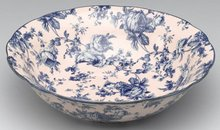 BLUE BLUSH PORCELAIN TRANSFERWARE FLORAL BOWL