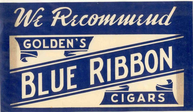 Blue Ribbon Cigar Sign