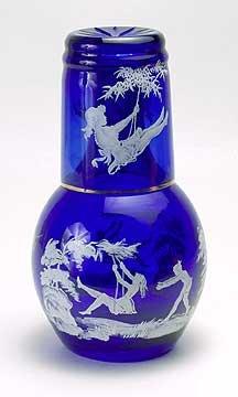 CUT OVERLAY COBALT BLUE GLASS NIGHT SET