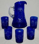 COBALT BLUE GLASS PITCHER AND GLASSES