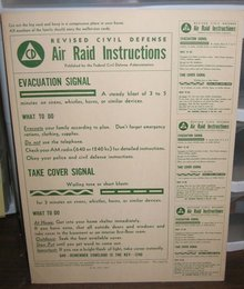 Vintage 1955 CIVIL DEFENSE AIR Raid Instruction Card
