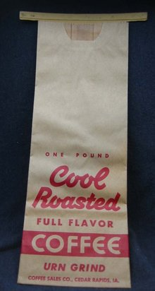 4 VINTAGE COFFEE ROASTED BAGS 1950S