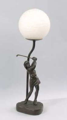 CAST IRON lady GOLFER GOLF LAMP / NEW ACCENT