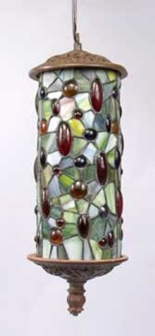 ART DECO HANGING LAMP W JEWELED DESIGN