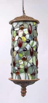 ART DECO HANGING LAMP W JEWELED DESIGN