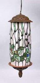 ART DECO HANGING LAMP W LEAF DESIGN / NEW