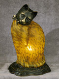 Amber Glass Cat Lamp