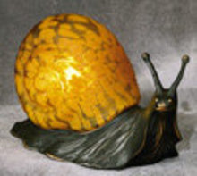 ART DECO GLASS SNAIL FIGURE LAMP