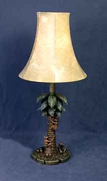 TROPIC ART DECO MONKEY PALM TREE SHADE LAMP