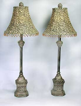 PAIR SILK SHADE BUFFET LAMPS / CAT