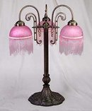 RETRO PINK BEADED PARLOR LAMP / NEW LIGHTING