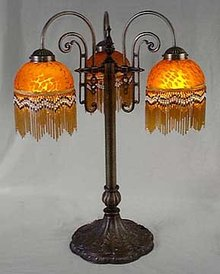 RETRO AMBER BEADED PARLOR LAMP / NEW LIGHTING