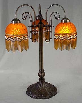 RETRO AMBER BEADED PARLOR LAMP / NEW LIGHTING